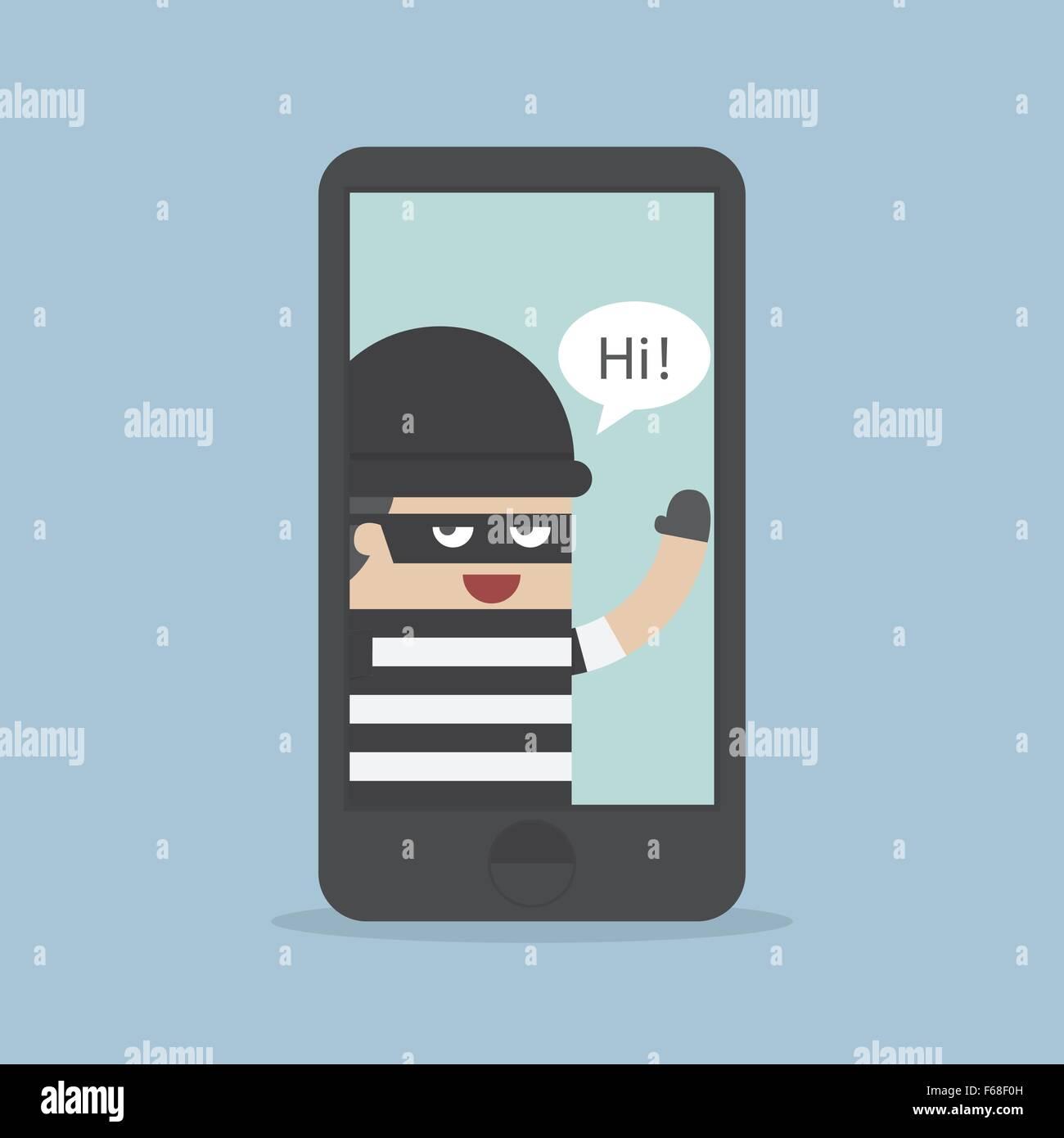 Hacker, ladro Hacking Smartphone, la concezione di business, vettore EPS10 Immagini Stock