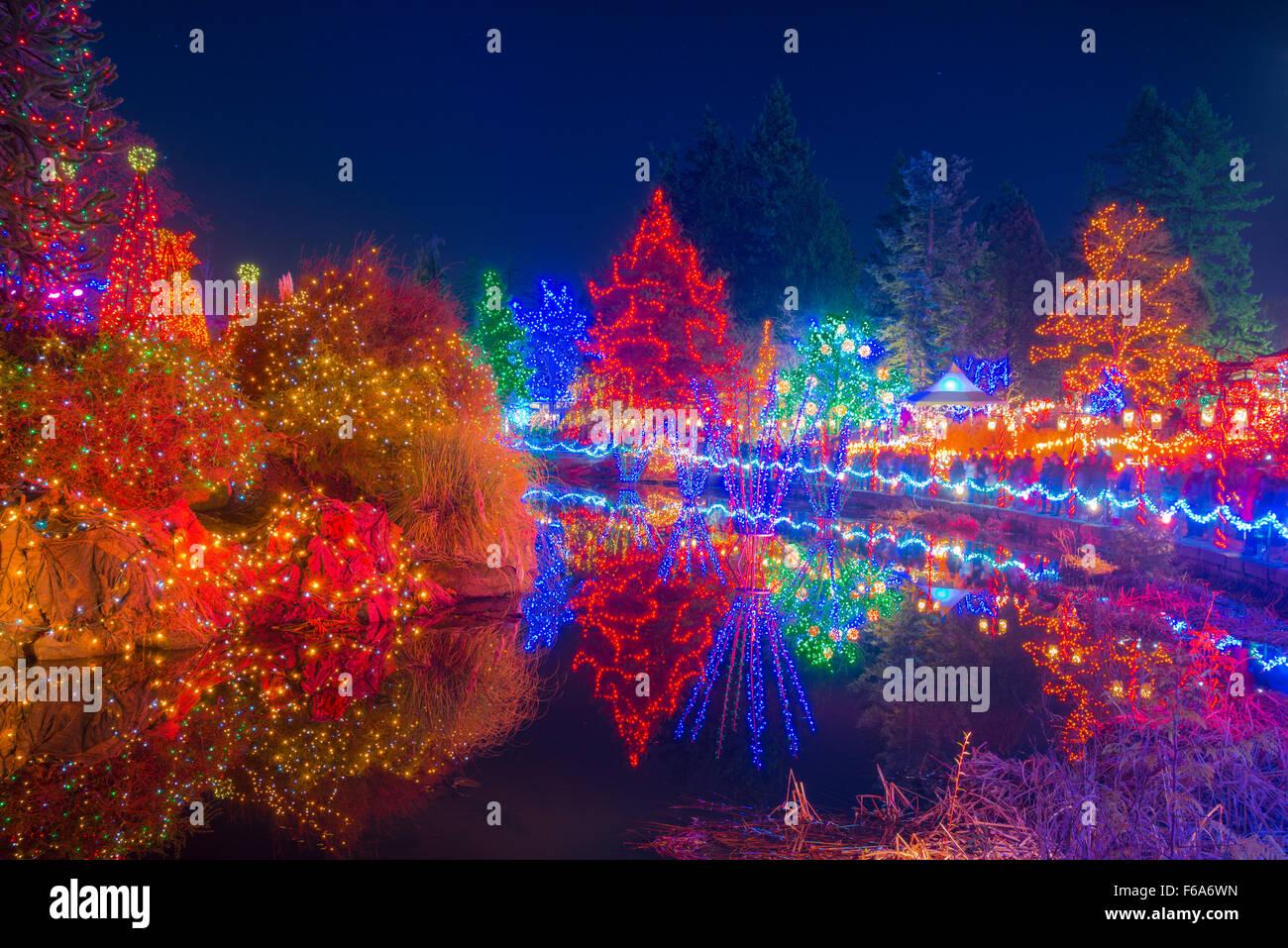Festival delle Luci, VanDusen Botanical Garden, Vancouver, British Columbia, Canada Immagini Stock