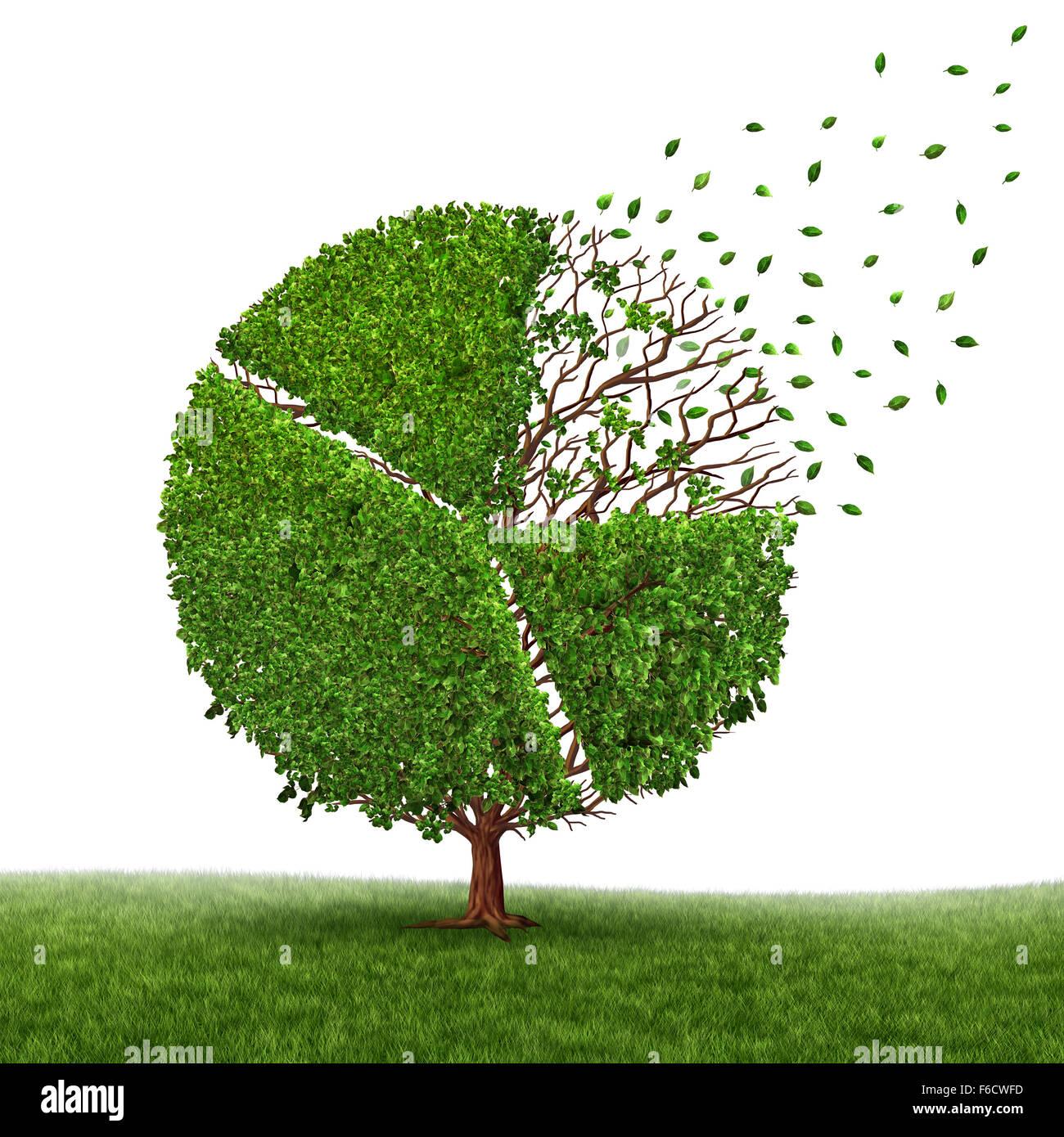 Mercato finanziario di perdita e di perdere il profitto come un grafico a torta in un albero che cresce verde lascia Immagini Stock