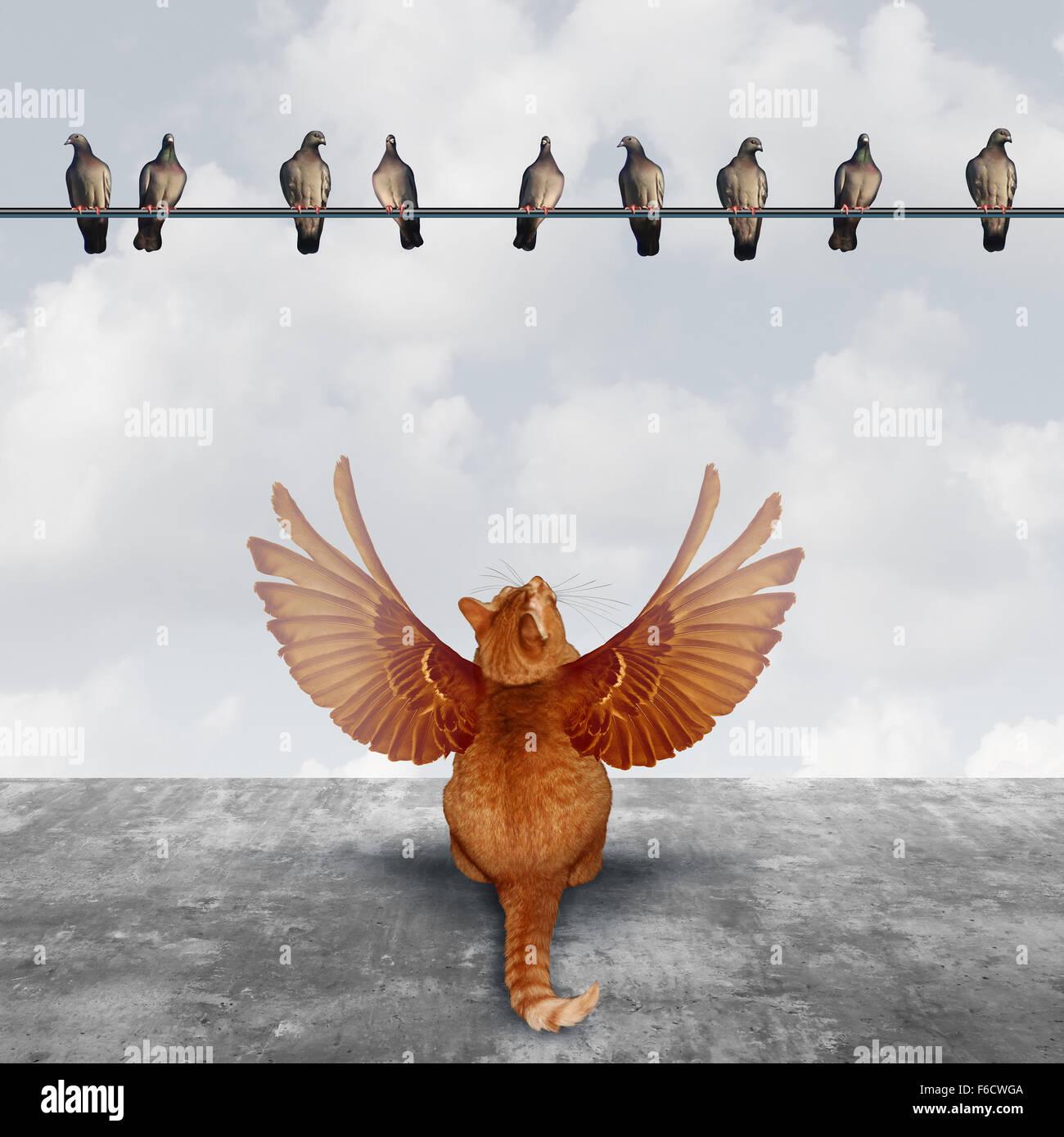 La motivazione e il concetto di fantasia come un ambizioso cat con ali immaginaria cercando fino in corrispondenza Immagini Stock