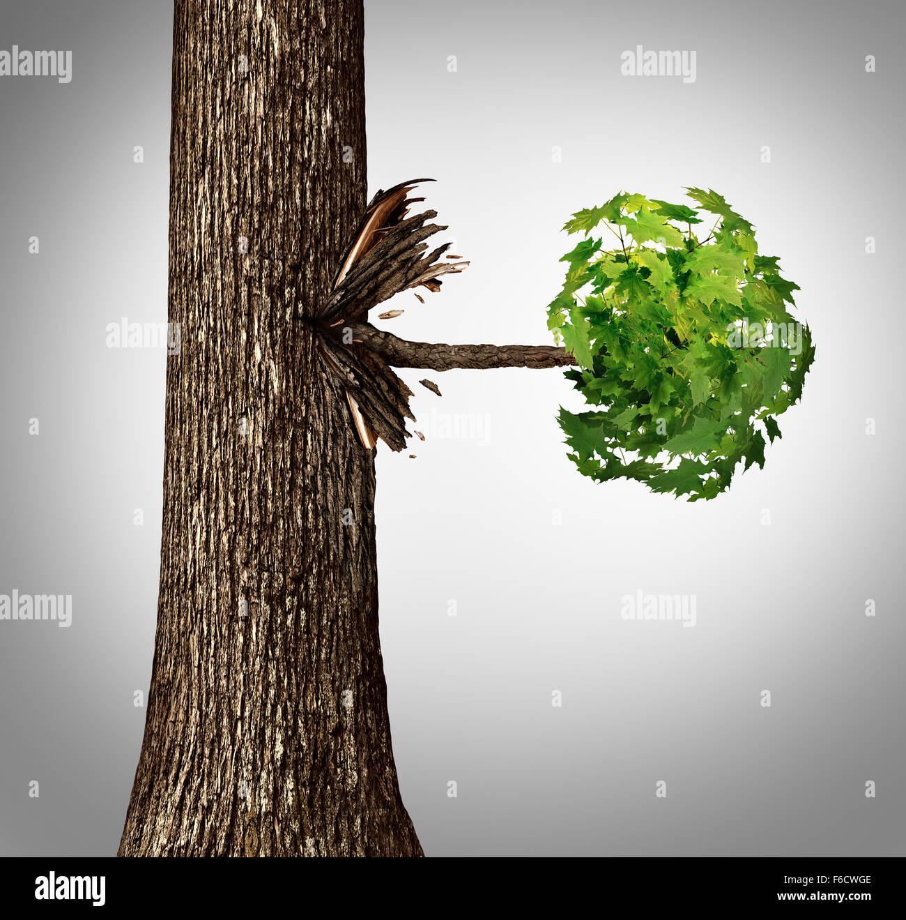 Emanazione del concetto come un movimento laterale di business come metafora di un tronco di albero con un ramo Immagini Stock