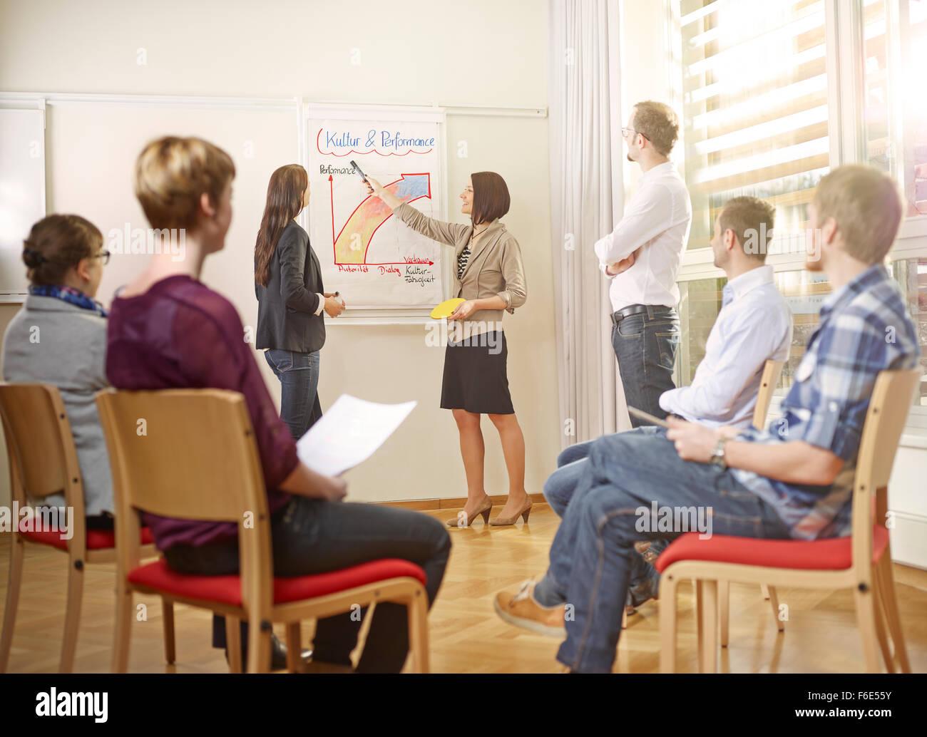 Coaching, workshop, business coach al seminario, istruzione degli adulti, Kolsass, Tirolo, Austria Immagini Stock