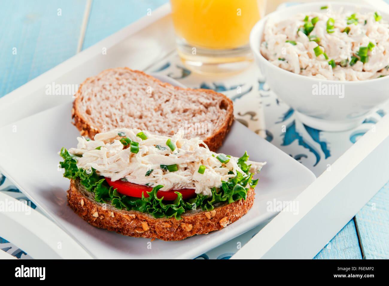 Insalata di pollo al pomodoro a sandwich Immagini Stock