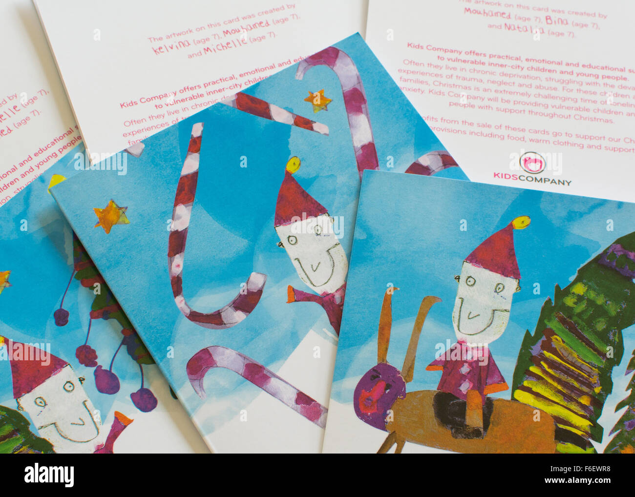Carte di Natale per bambini di supporto azienda la carità - 2014 Immagini Stock