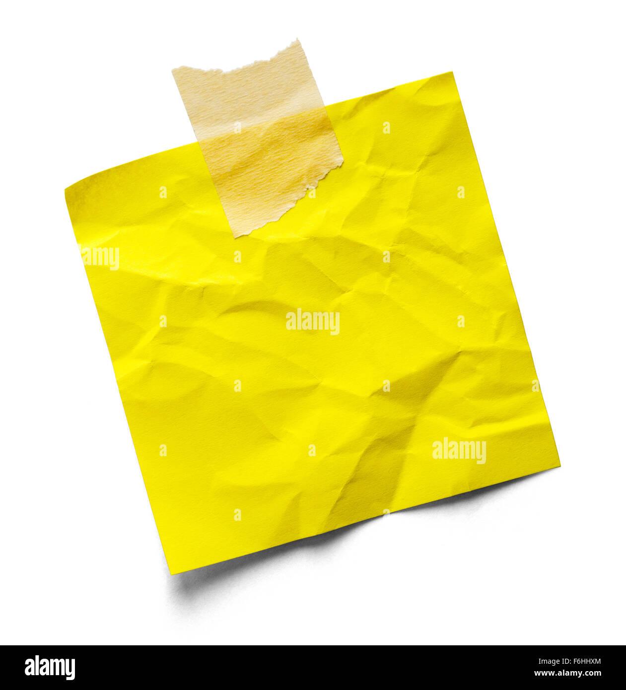 Piegate fino nota adesiva e il nastro isolate su uno sfondo bianco. Immagini Stock