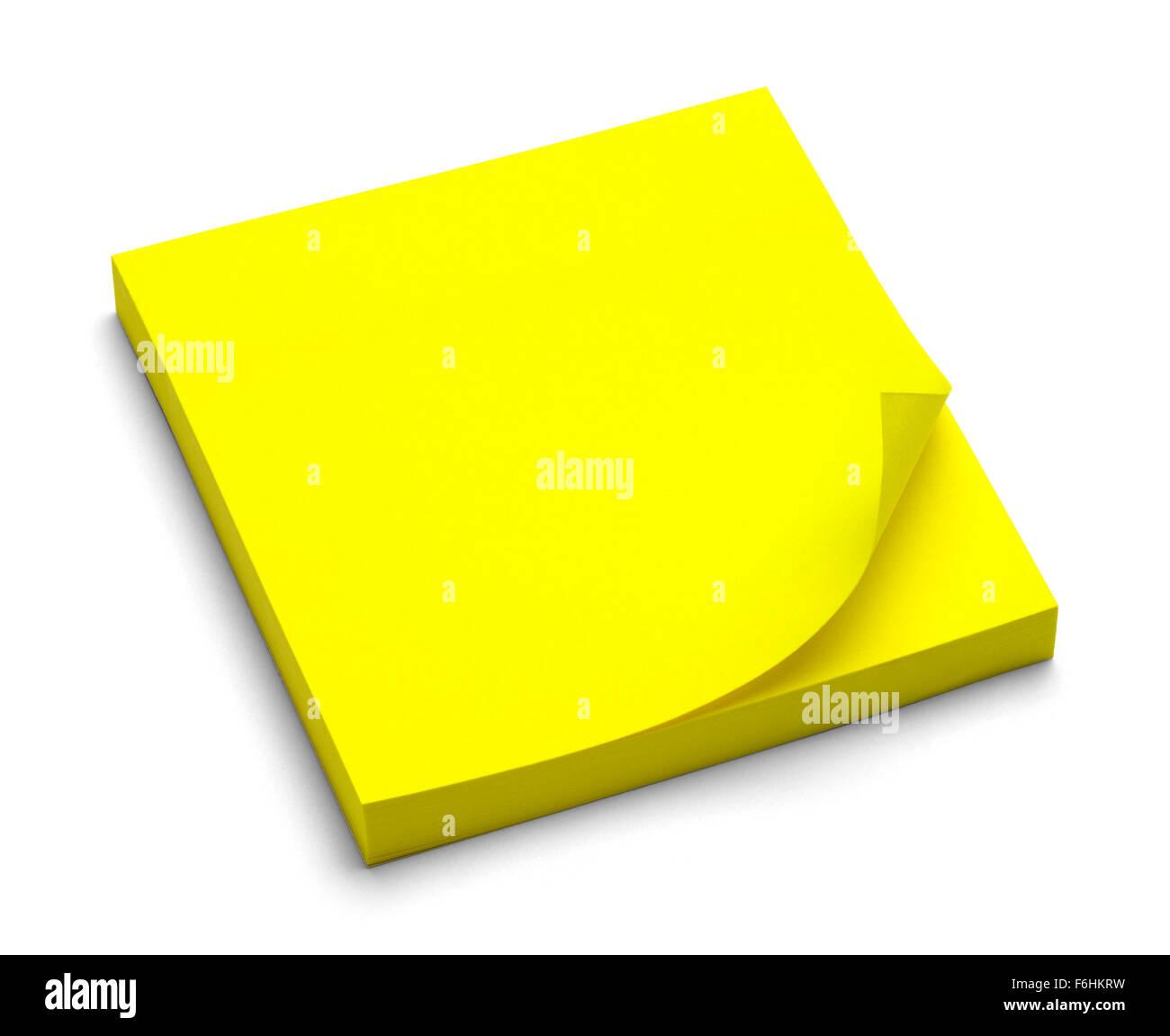 Bigliettino giallo Pad isolato su uno sfondo bianco. Immagini Stock