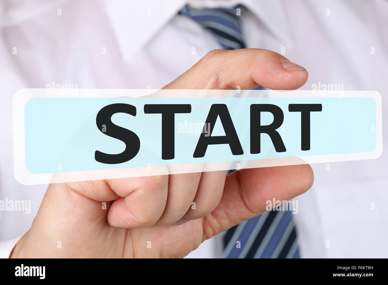Imprenditore il concetto di business con inizio di successo a partire dall'inizio iniziare Immagini Stock