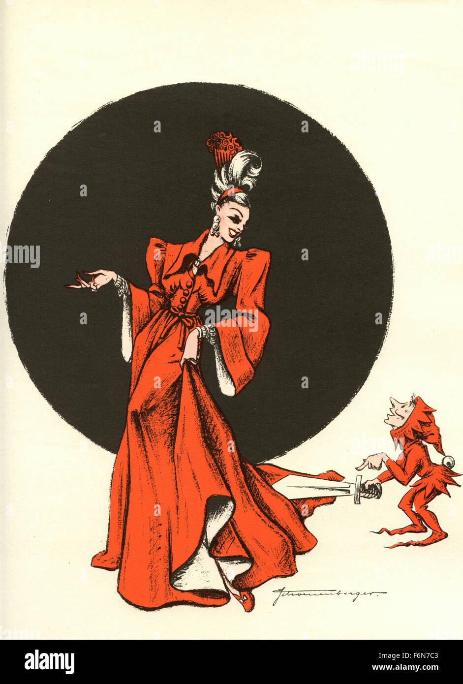 Tedesco illustrazioni satirico 1950: una donna e un elfo Immagini Stock