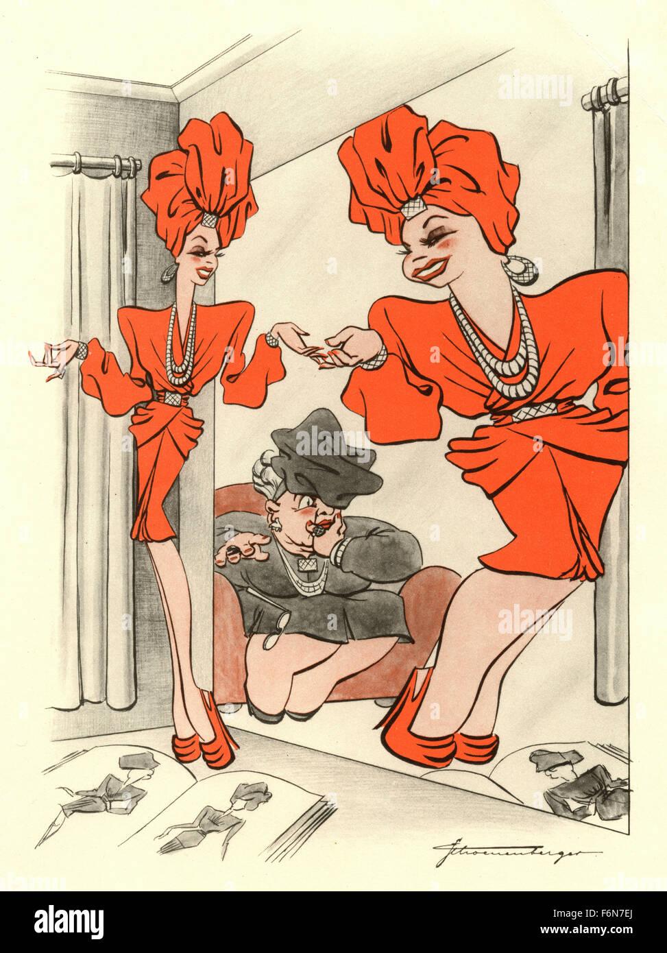 Tedesco illustrazioni satirico 1950: Donna nello specchio Immagini Stock