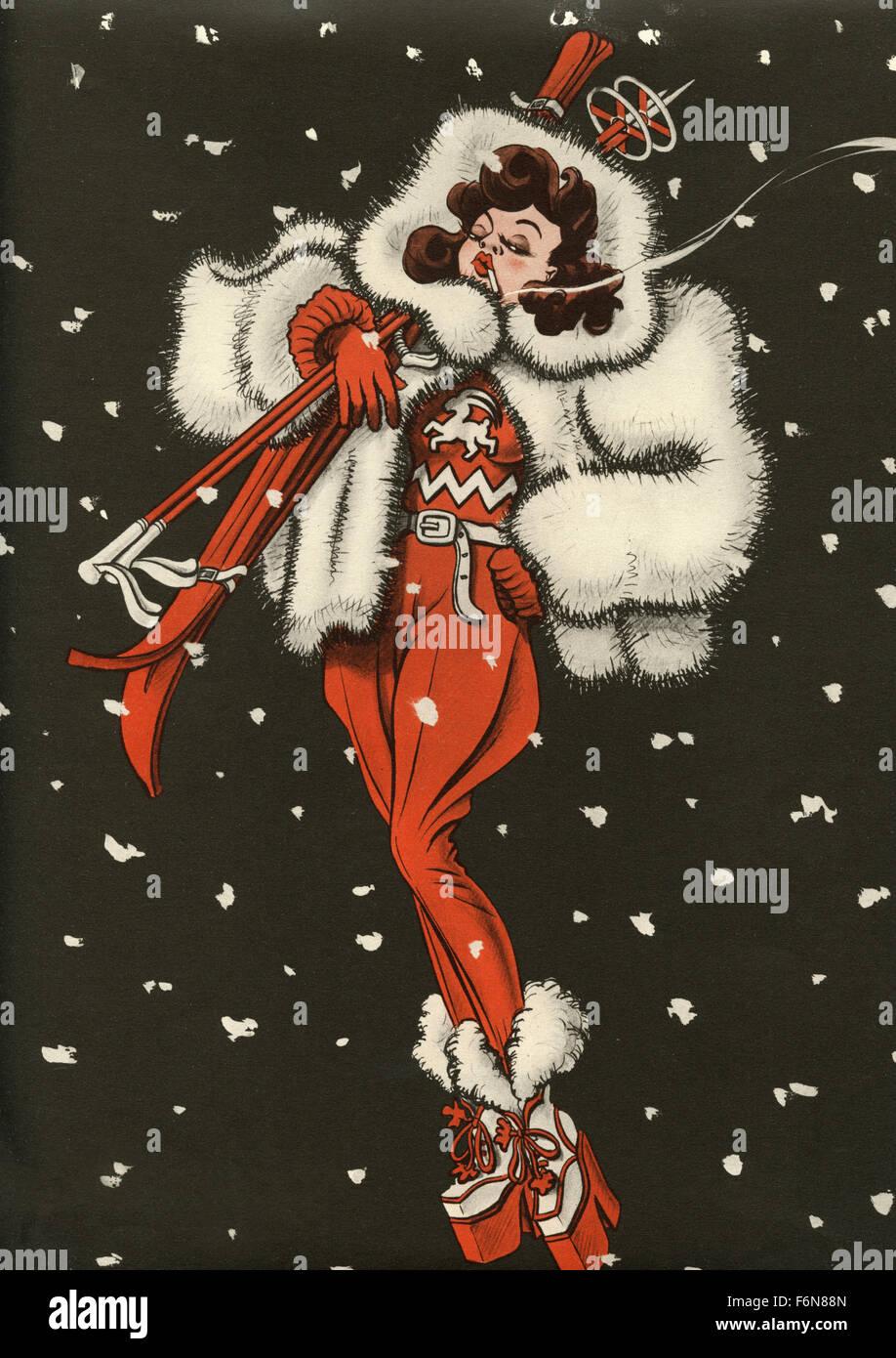 Tedesco illustrazioni satirico 1950: una donna sci e fumatori Immagini Stock