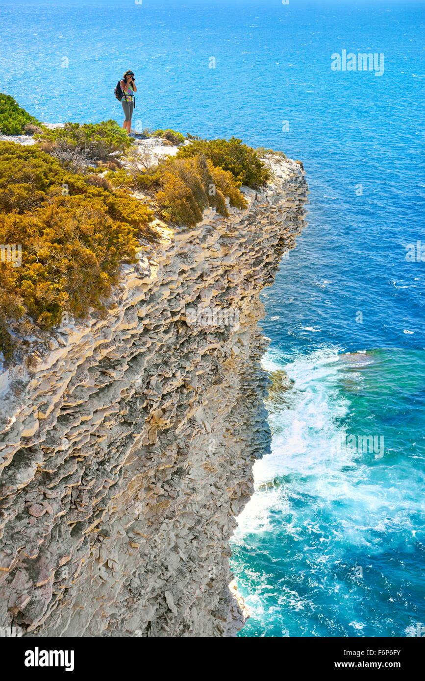 La roccia calcarea, Bonifacio, Costa Sud della Corsica, Francia Immagini Stock