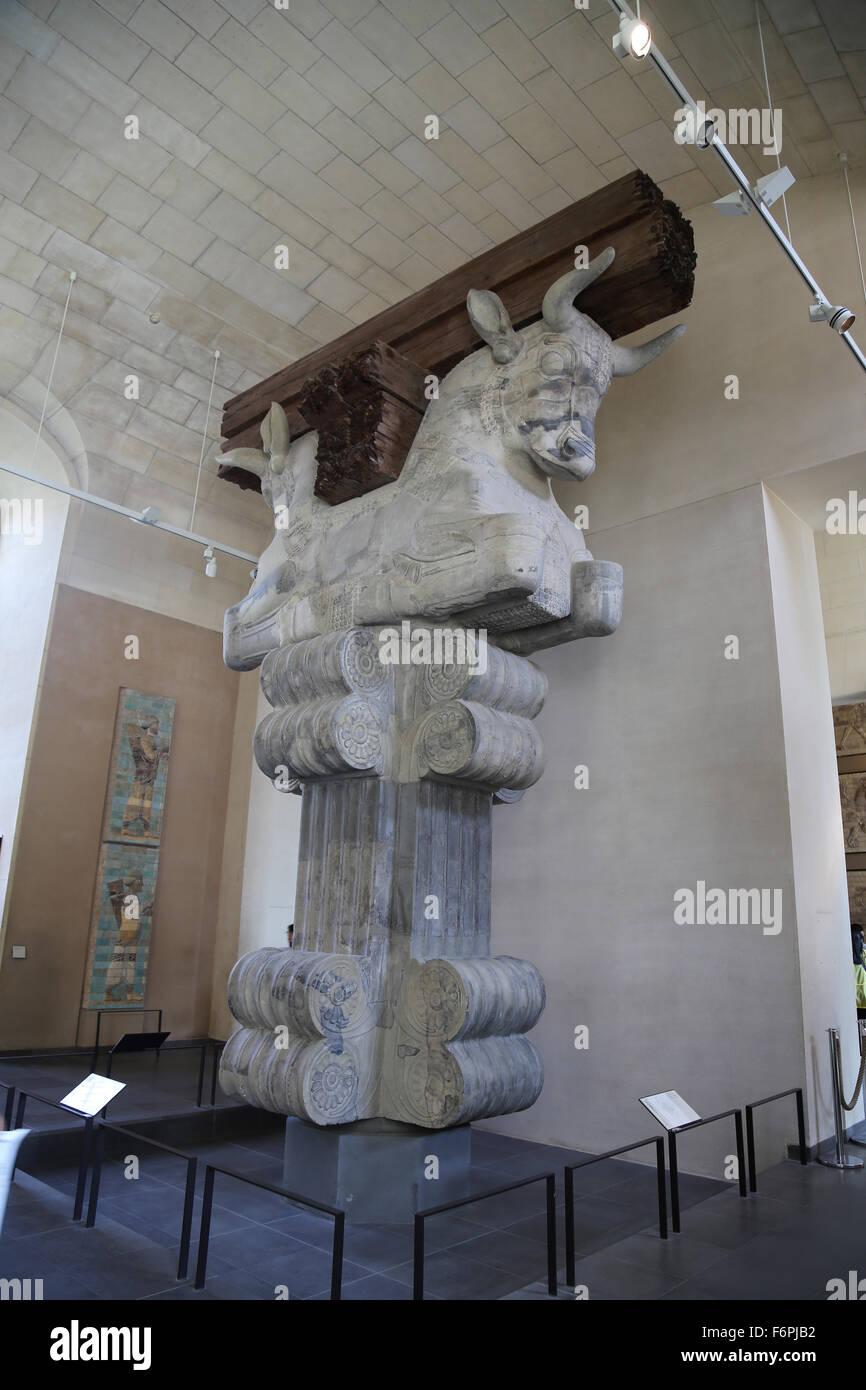 Colonna di capitale. Camera di audience Hall. Apadama. Palazzo di Dario il Grande. V secolo A.C. Susa. L'Iran. Immagini Stock
