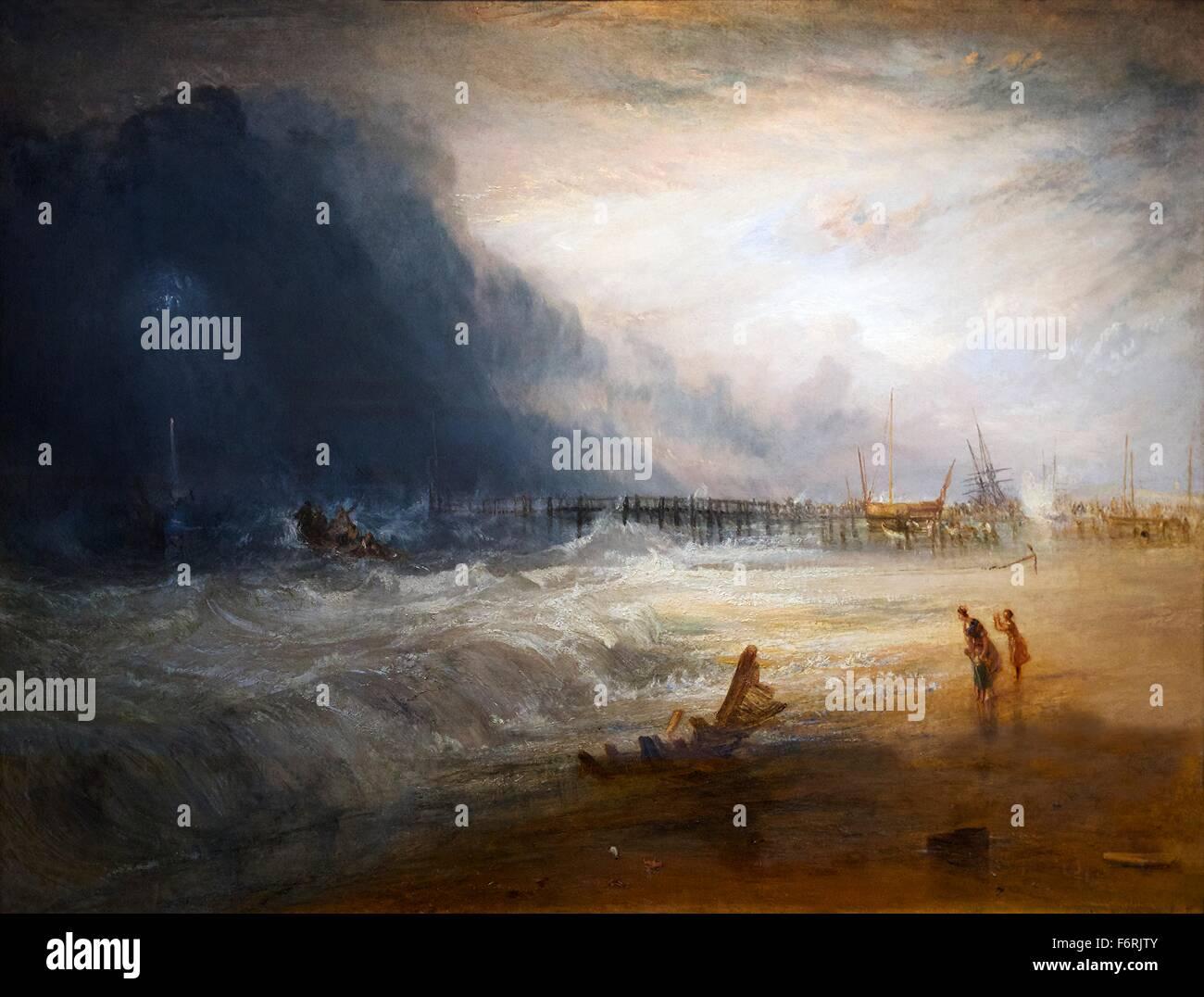 La vita in barca e apparato Manby andando fuori ad un recipiente a filamento rendendo il segnale di angoscia, da Foto Stock