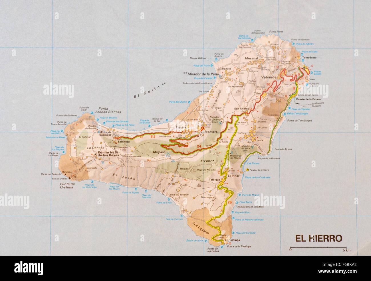 Cartina Geografica Spagna Isole.Mappa Di La Spagna Isole Canarie Di El Hierro Noto Anche Come Isla Del Meridiano Foto Stock Alamy