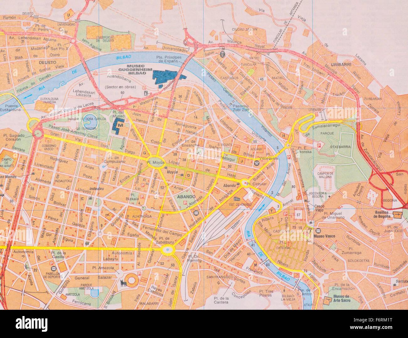 Bilbao Cartina Spagna.Mappa Stradale Della Citta Spagnola Di Bilbao Spagna Foto Stock Alamy