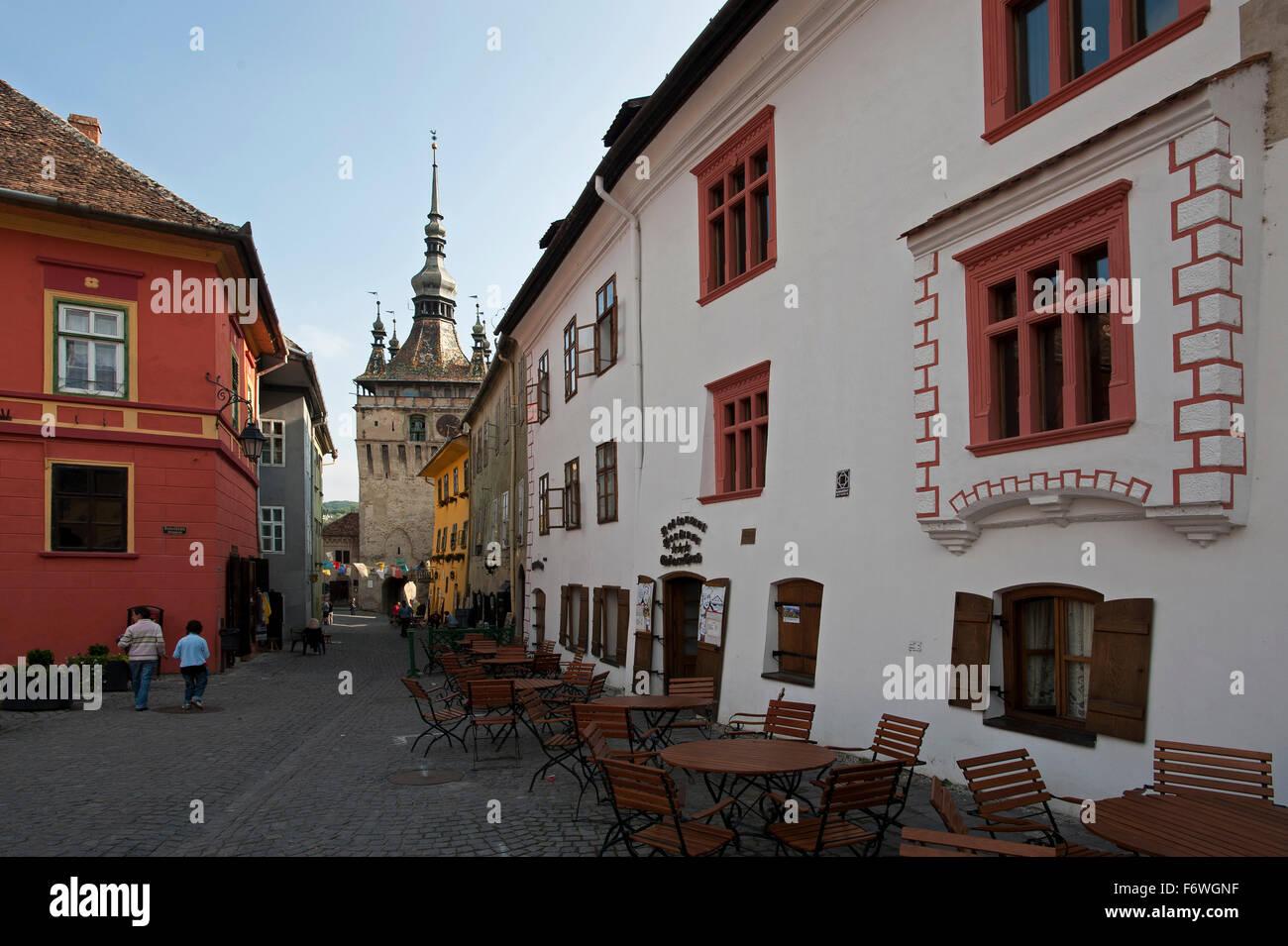 Guest house e ristorante Casa cu Cerb nel centro storico, Sighisoara, Transilvania, Romania Immagini Stock