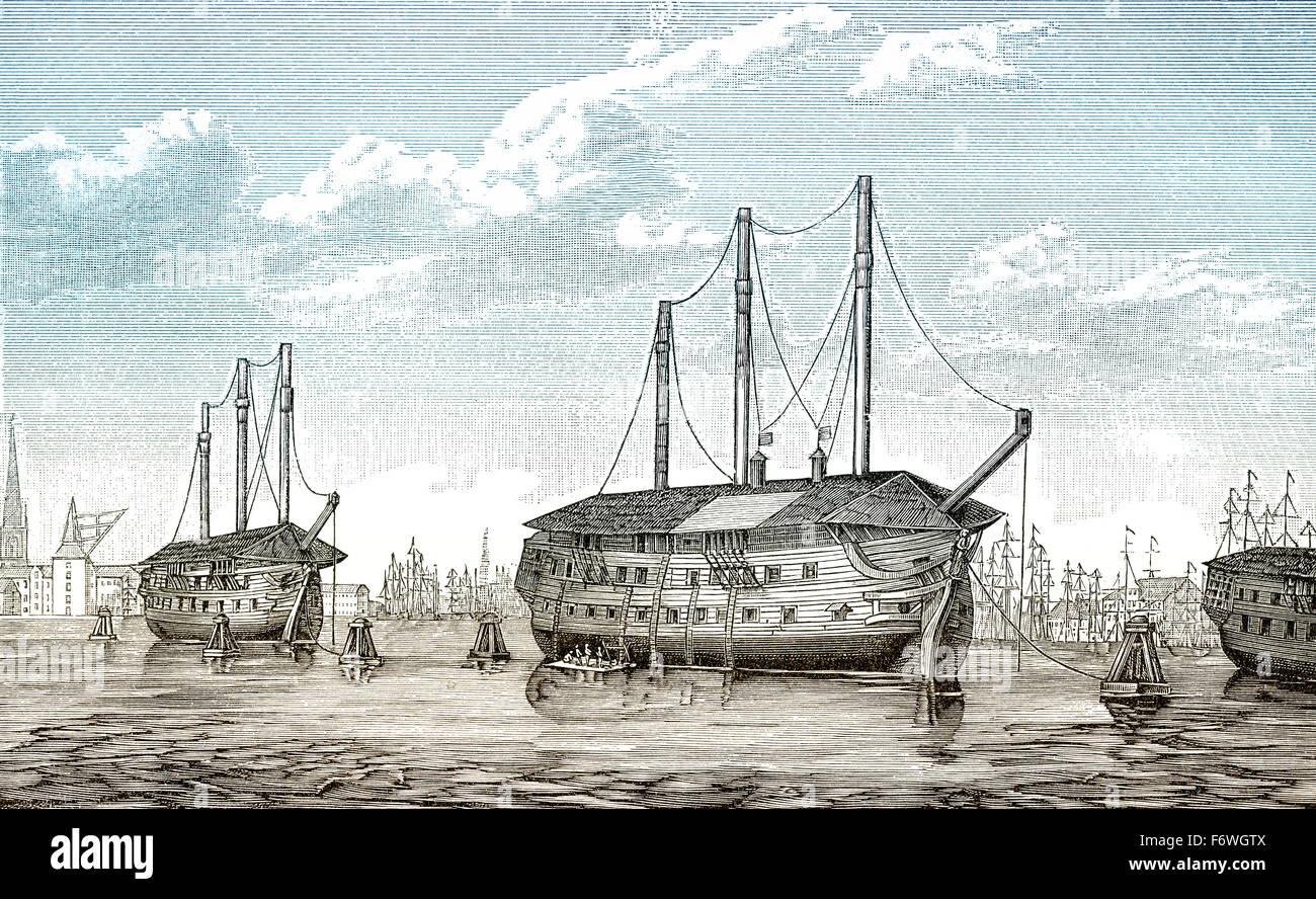La prigione danese-navi Dronning Maria e Waldemar a Copenaghen, Danimarca, la prima guerra dello Schleswig, dal Immagini Stock