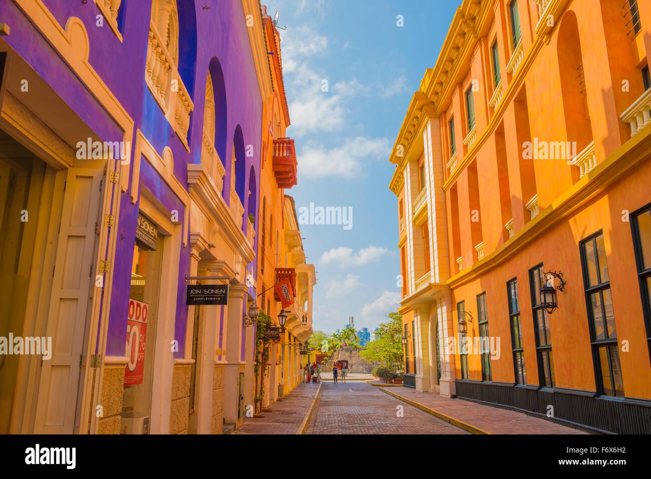 Città vecchia Cartagena, Bolivar, Colombia spagnolo coloniale edifici Sito Patrimonio Mondiale Immagini Stock