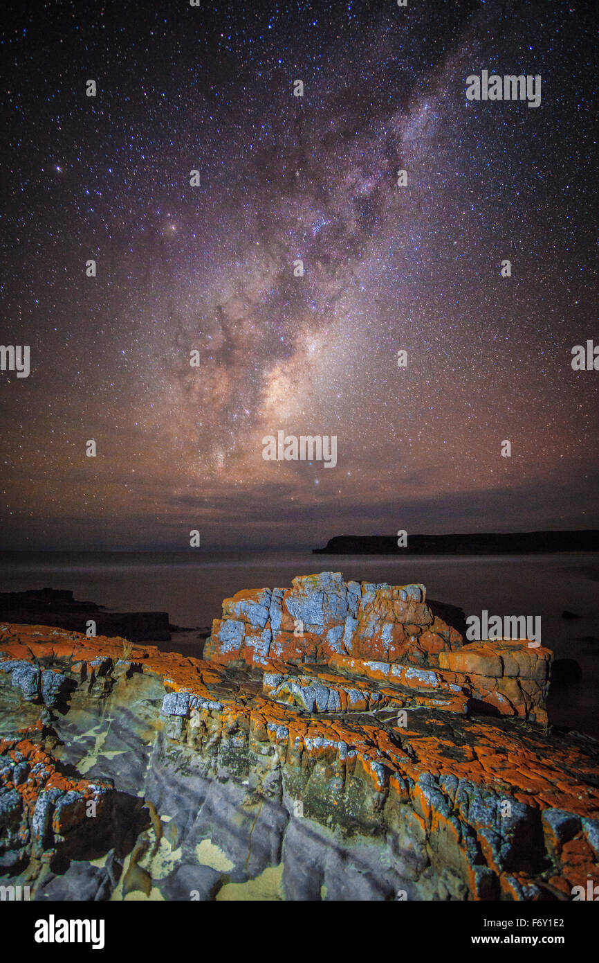 La Via Lattea vista dall'incontaminata Nadgee Wilderness Area Immagini Stock
