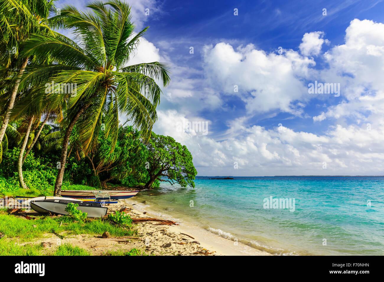 Tabuaeran beach sull'isola Fanning, Repubblica di Kiribati Immagini Stock