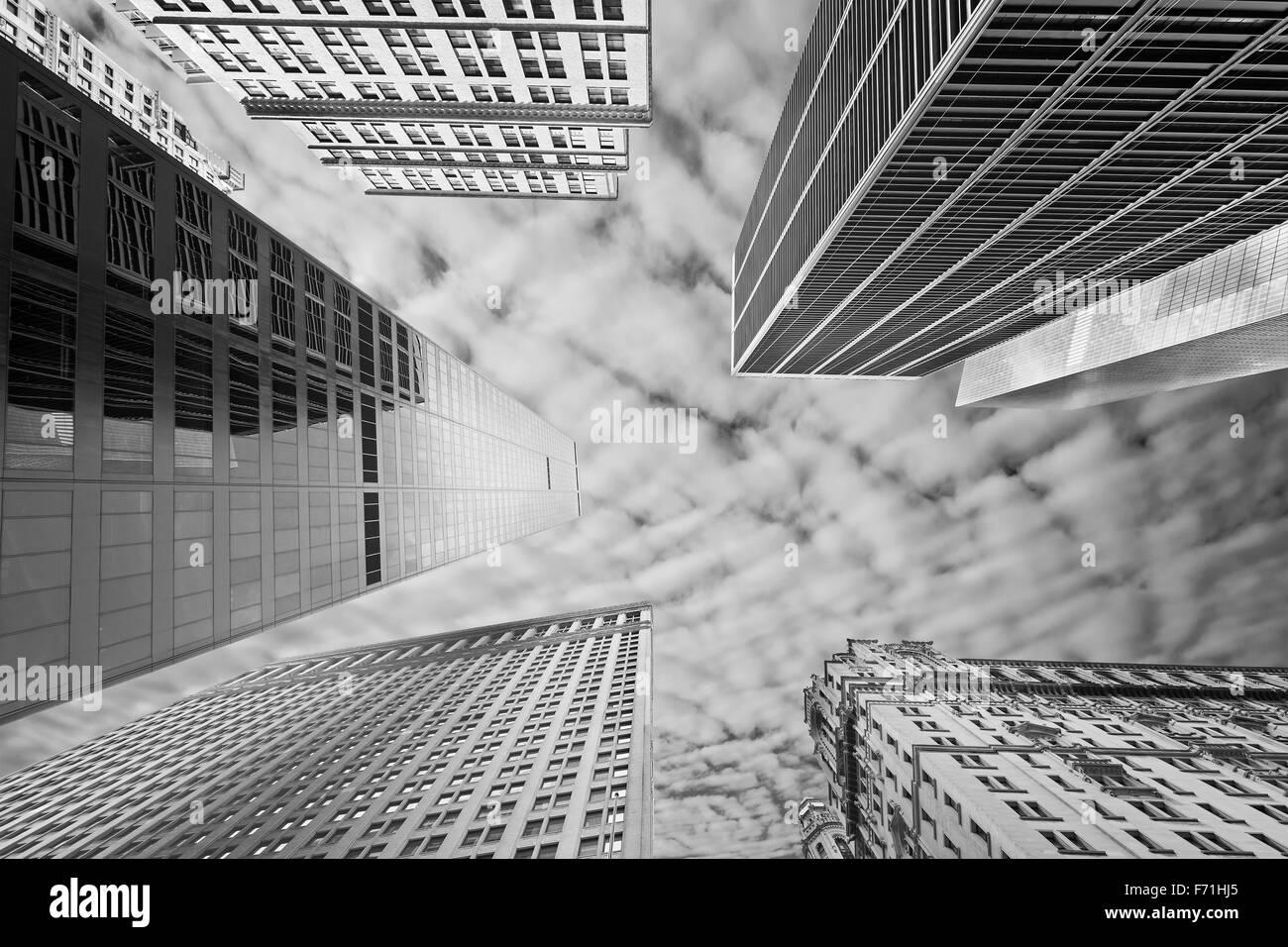 Immagine in bianco e nero di New York grattacieli, STATI UNITI D'AMERICA. Foto Stock
