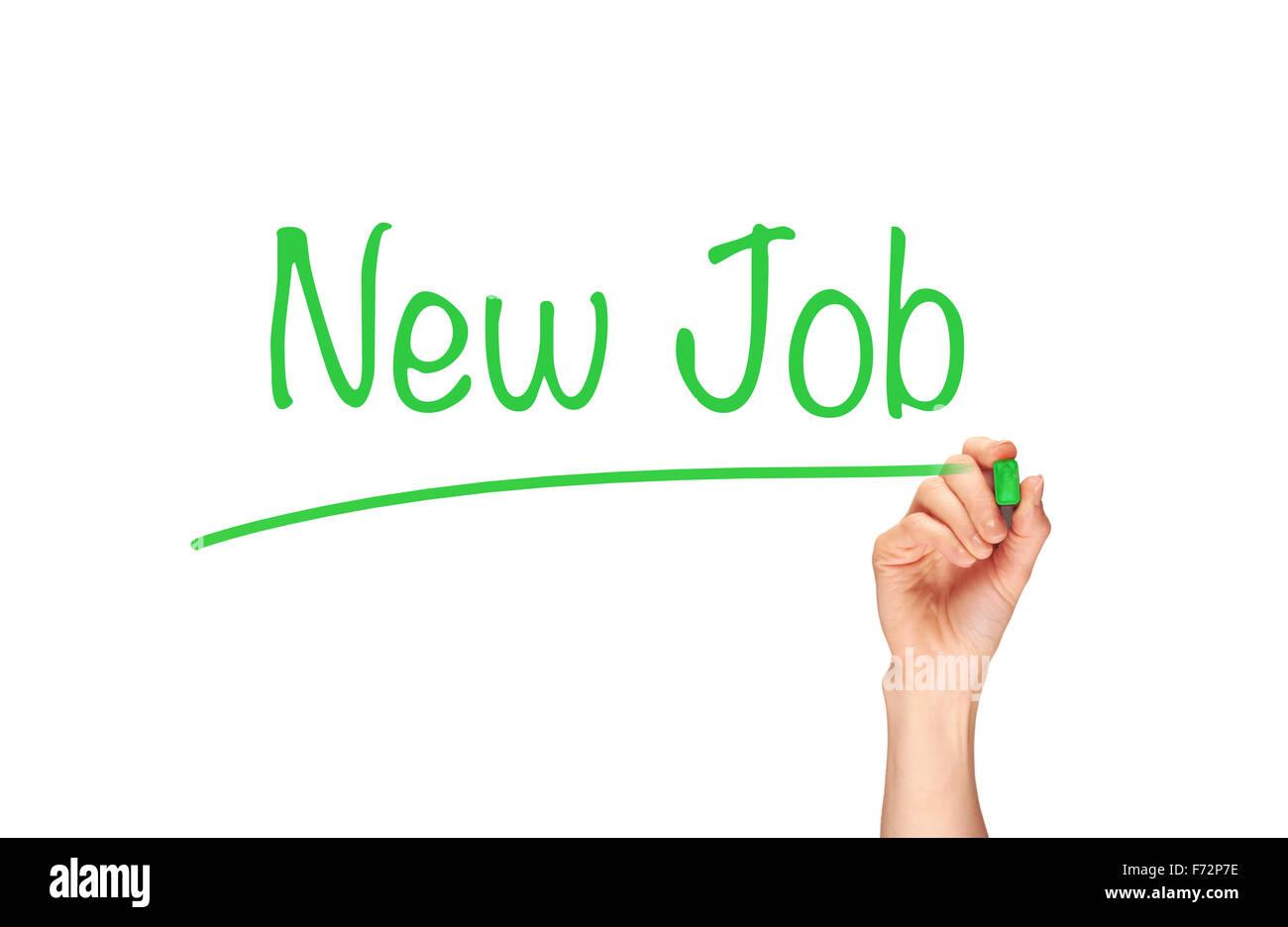 Nuovo Job, la scritta in pennarello su uno schermo chiaro. Immagini Stock