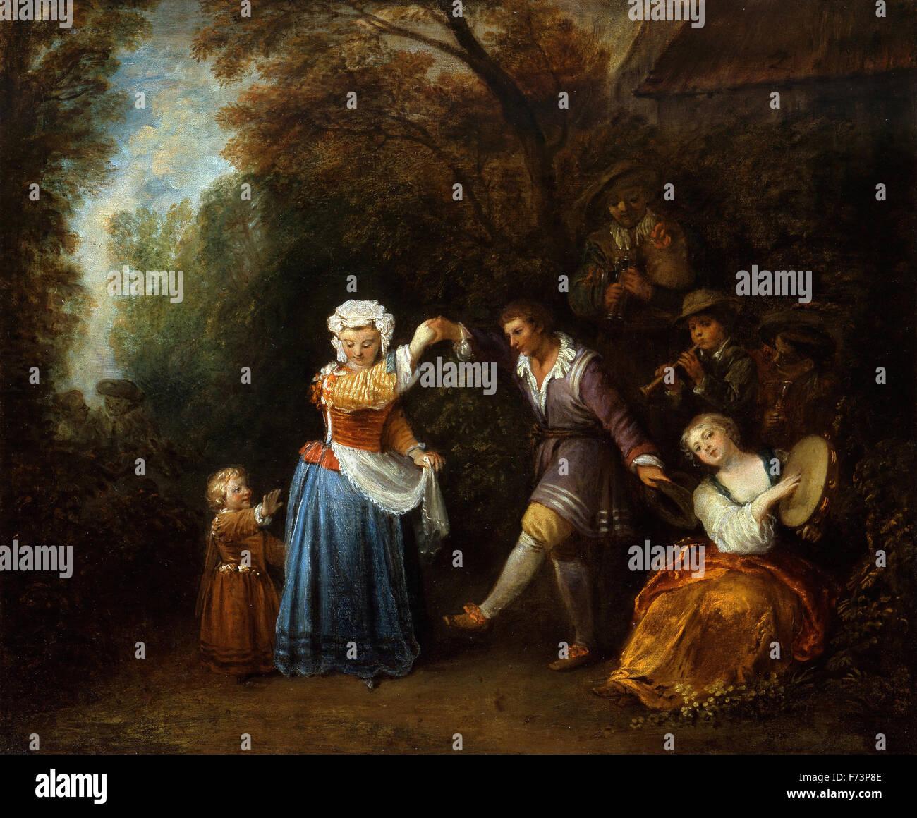 Jean-Antoine Watteau - La Country Dance Immagini Stock