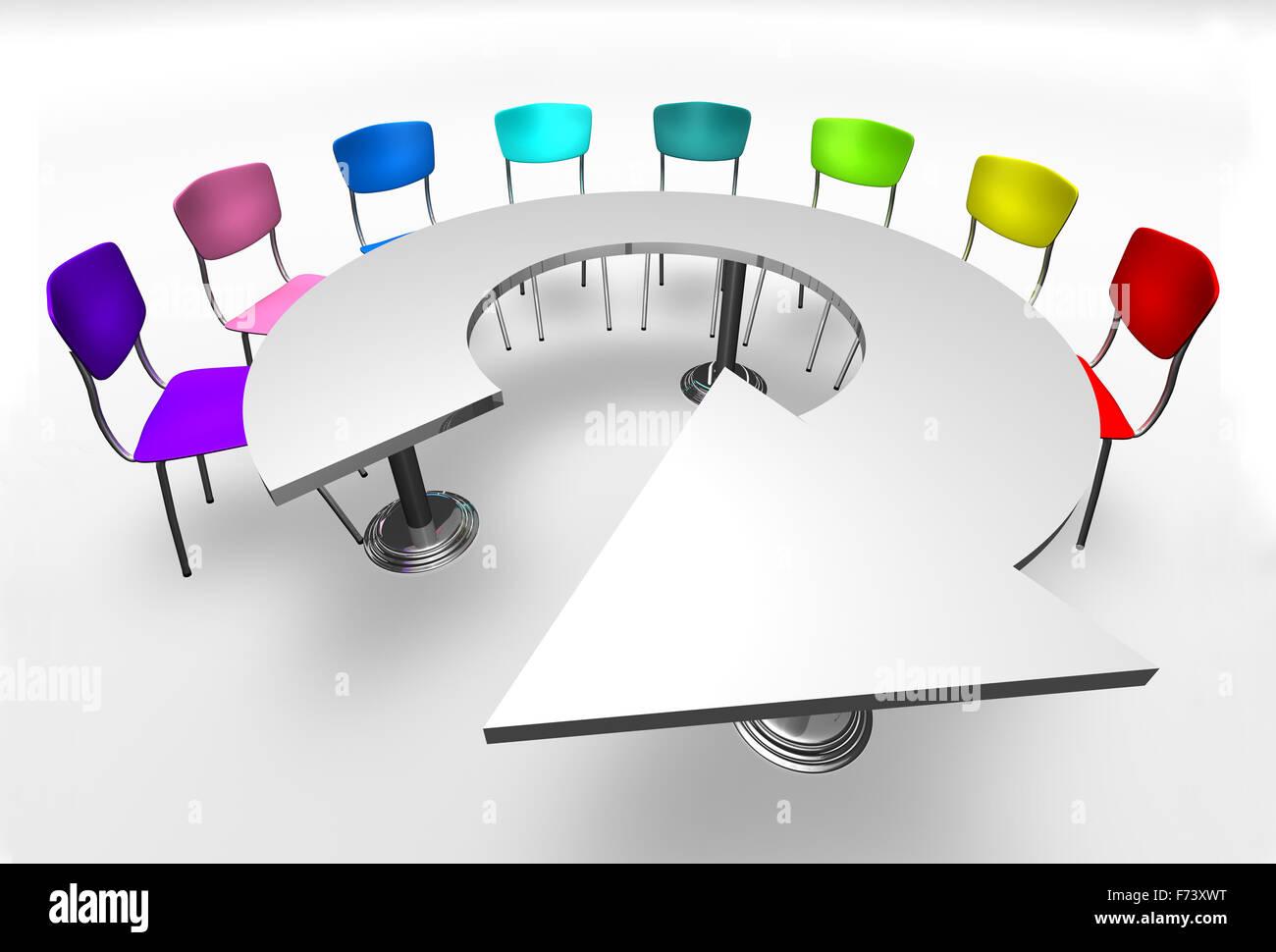 Assemblaggio e concetto di incontro.Mobili di Design e sedie Immagini Stock