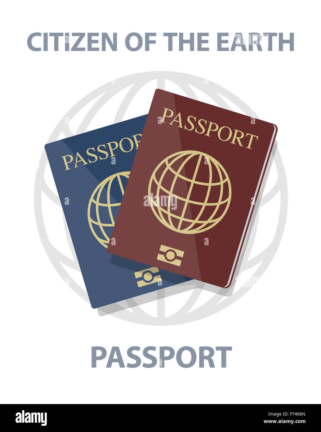 Vettore di passaporti biometrici con globo, cittadino del concetto di massa, eps10 Immagini Stock