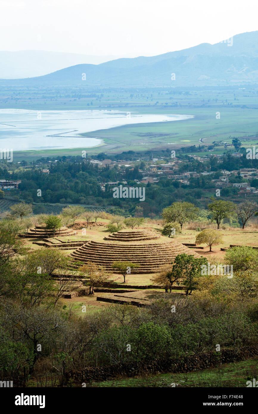 Il guachimontones pre-colombiano sito con la sua unica piramide circolare vicino alla città di teuchitlan, Immagini Stock