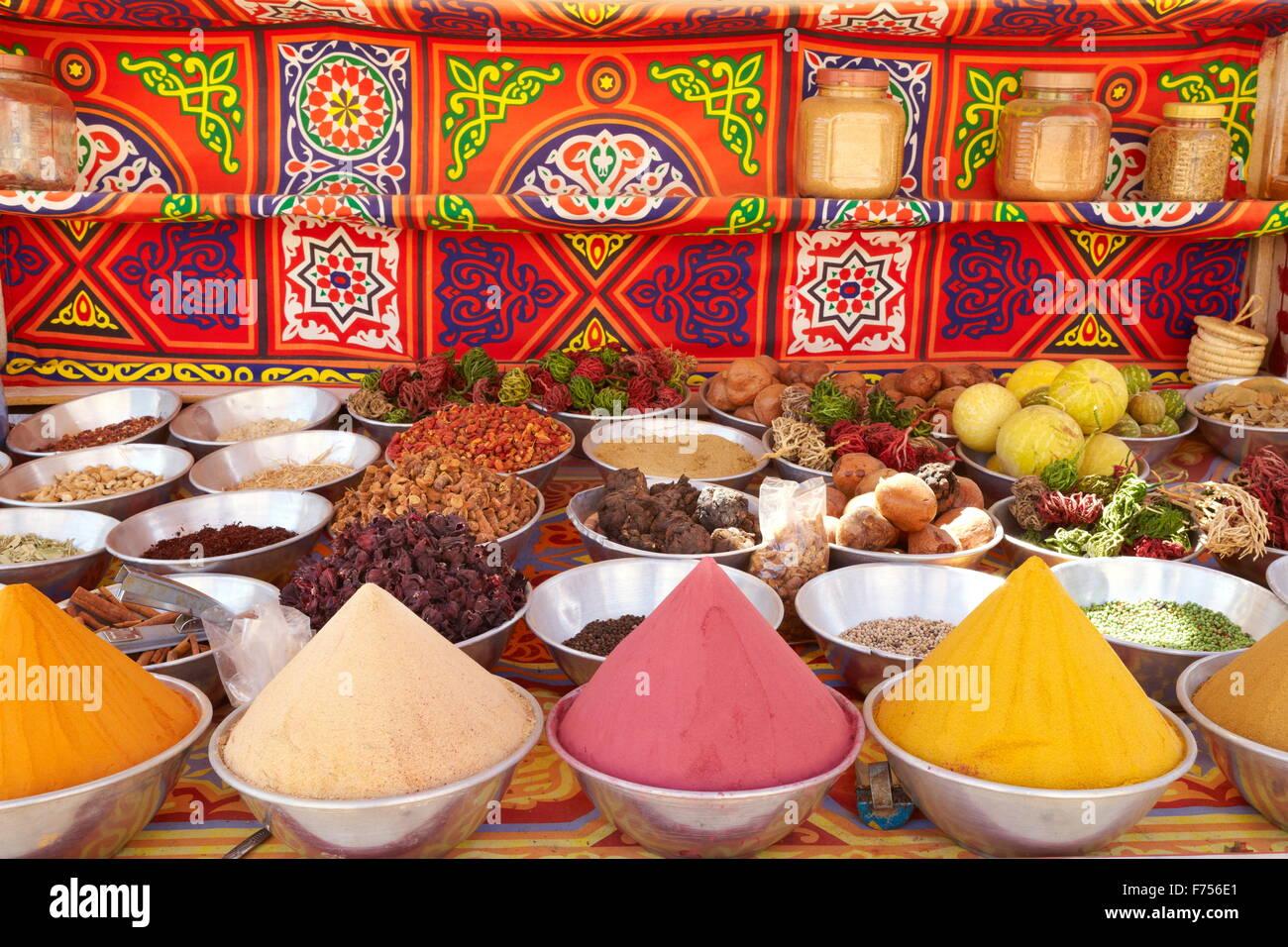 Negozio di spezie, Nubian Village vicino a Aswan, Egitto Immagini Stock