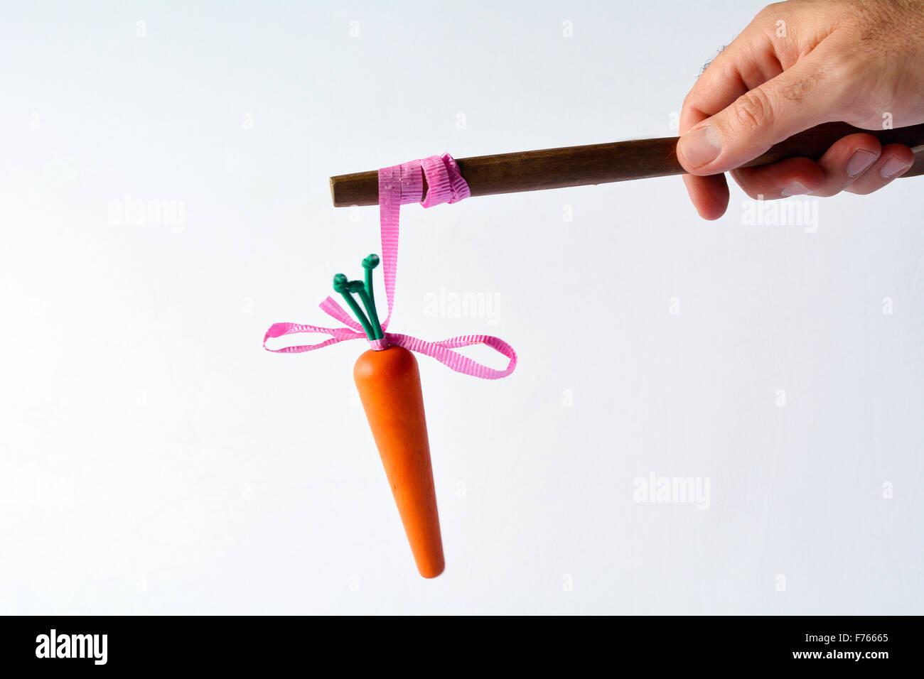 Man mano che offre una carota su un bastone. Il concetto di Business e idee. carota o bastone idiom - ricompense Immagini Stock