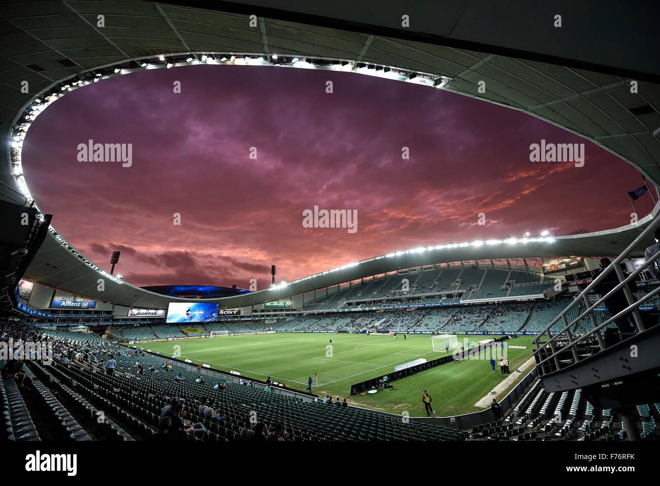 Lo Stadio Allianz, Sydney, Australia. 26 Novembre, 2015. Hyundai un-campionato. Sydney rispetto a Wellington Phoenix. Immagini Stock