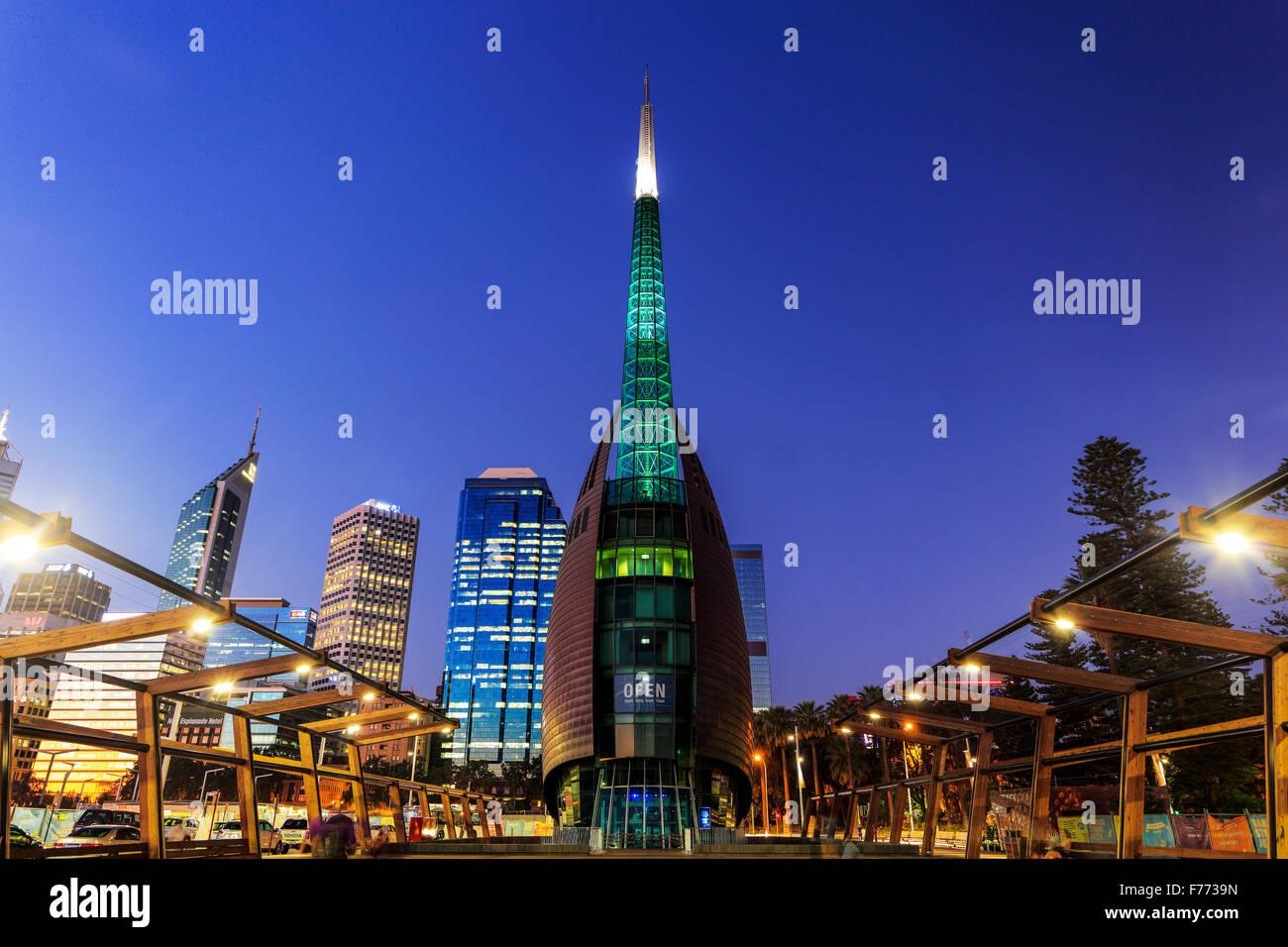 La torre campanaria a Barrack Square, Perth, Western Australia. Immagini Stock
