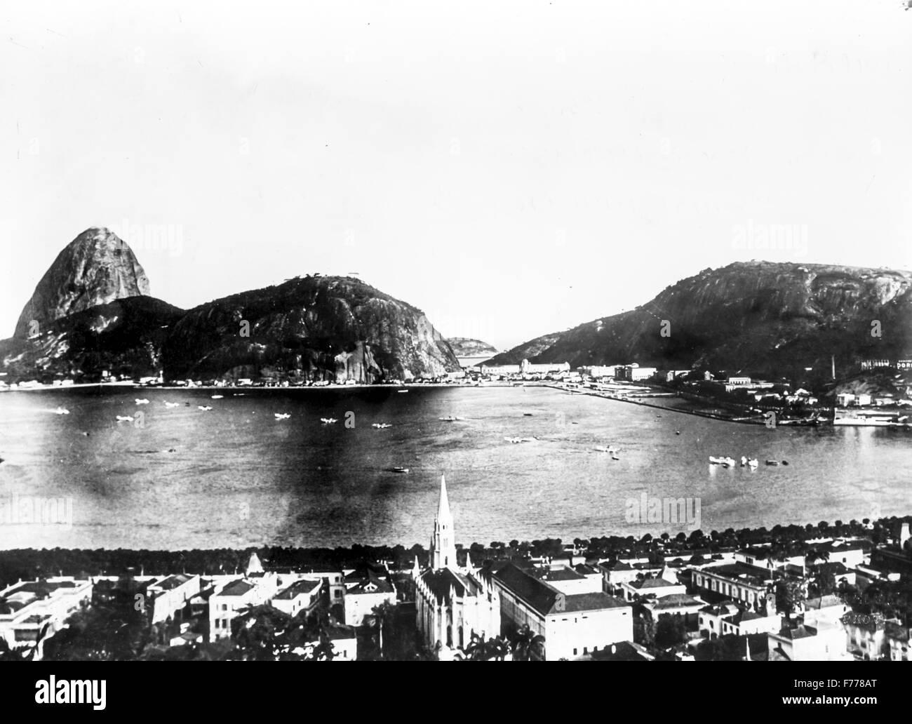 Gli idrovolanti della crociera Atlantic ormeggio nella baia di Rio de Janeiro dove il volo si è conclusa,1931 Immagini Stock
