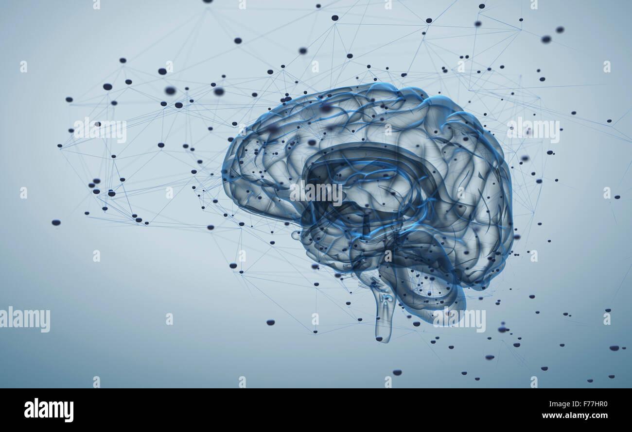 Illustrazione dei processi di pensiero nel cervello Immagini Stock