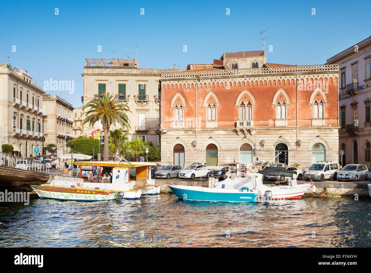 Il porto di Isola di Ortigia, Siracusa, Sicilia, Italia UNESCO Immagini Stock