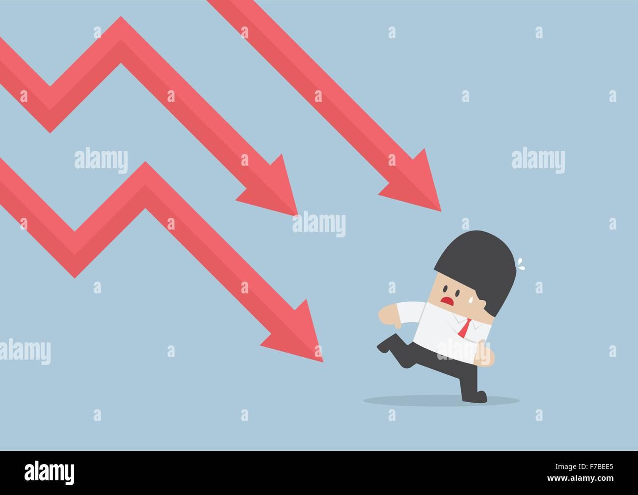 Imprenditore scappare dalla caduta di grafico, tendenza ribassista, vettore EPS10 Immagini Stock
