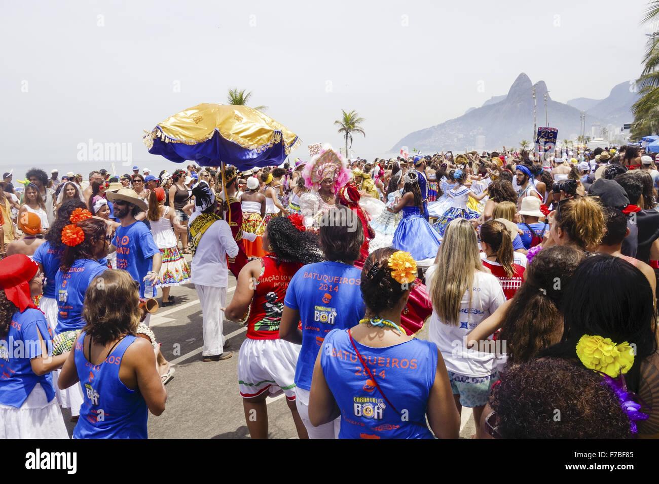 Rio de Janeiro Ipanema Beach, strada di carnevale, Brasile Immagini Stock