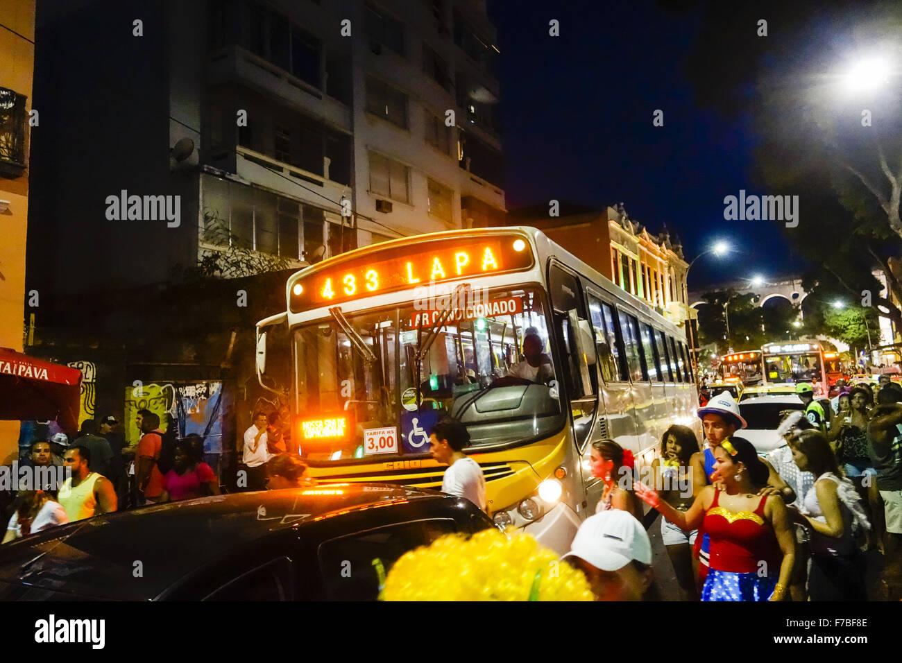 Rio de Janeiro, Lapa, strada di carnevale, Brasile Immagini Stock