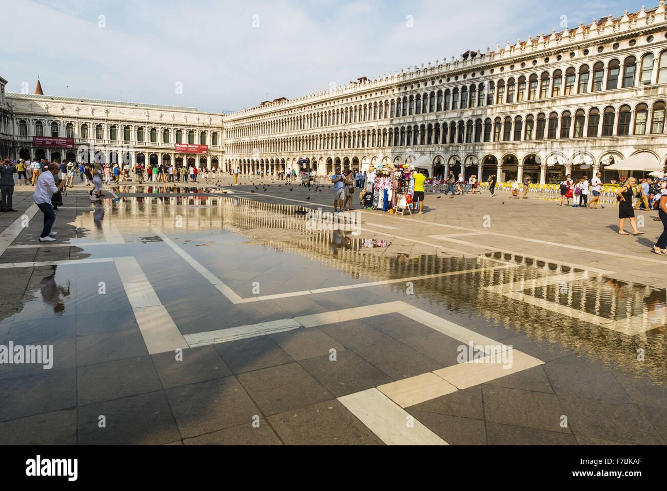 Parzialmente allagata Piazza San Marco, Venezia, Veneto, Italia Immagini Stock