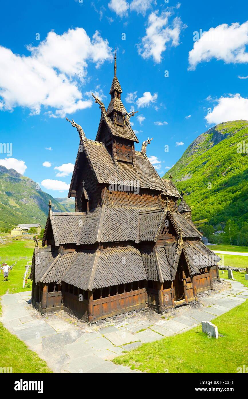 Borgund doga Chiesa Sogn og Fjordane, Norvegia Immagini Stock