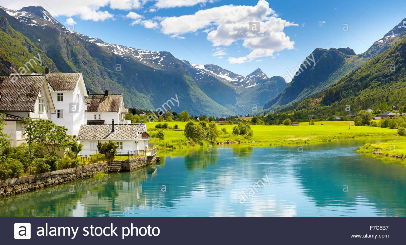 Valle Oldedalen paesaggio, Norvegia Immagini Stock