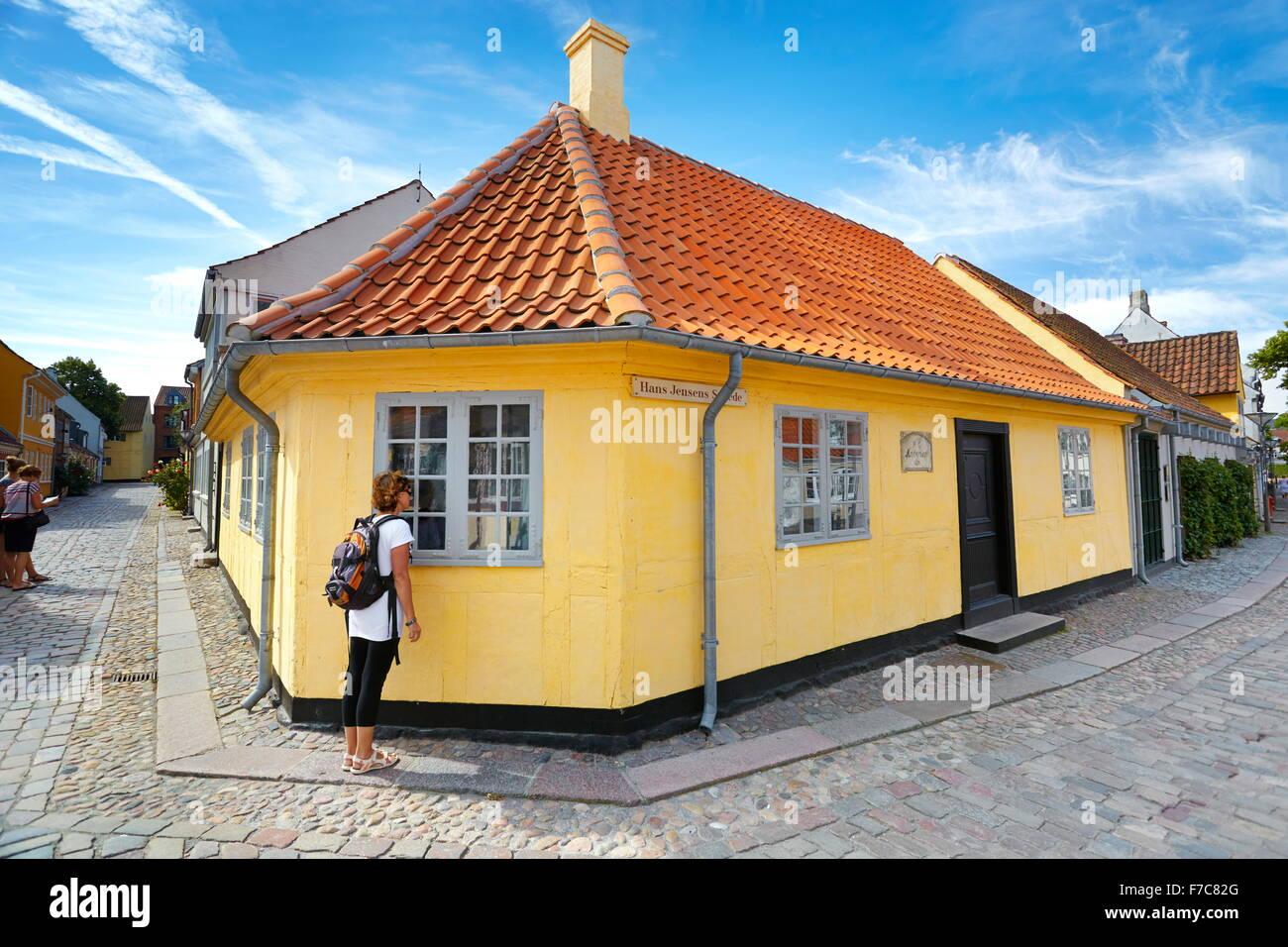 Hans Christian Andersen di casa a Odense, Danimarca Immagini Stock