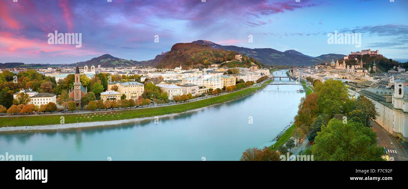 Panoramica vista aerea della città di Salisburgo, Austria Foto Stock