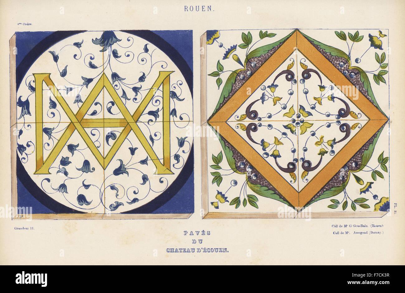 Pavimento In Piastrelle Di Ceramica Smaltata : Dipinto di pavimento di piastrelle da rouen in chateau d ecouen