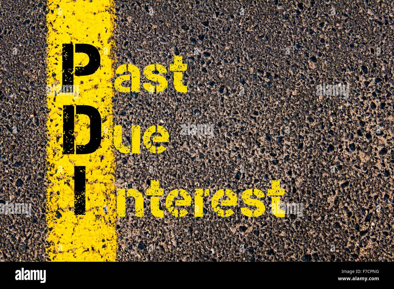 Concetto di immagine di Contabilità Affari acronimo PDI passato dovuto interesse scritto oltre la segnaletica Immagini Stock