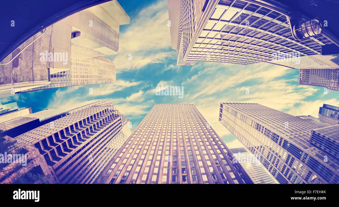 Vintage tonica fisheye foto dei grattacieli di New York, Stati Uniti d'America. Foto Stock