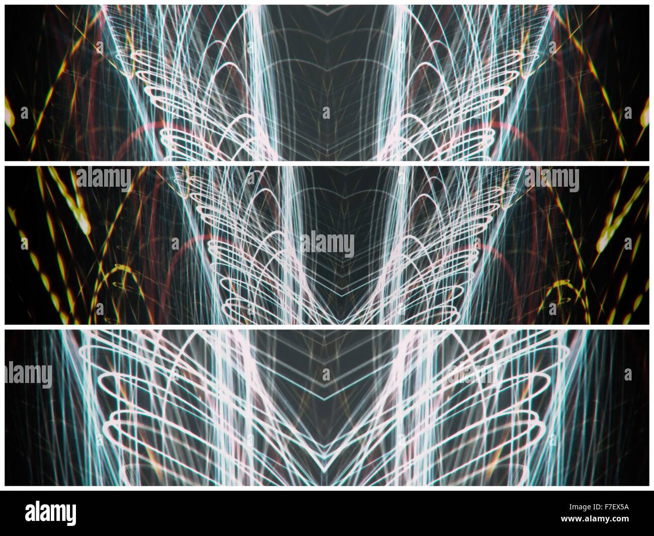 Lightpainting trittico in formato orizzontale grazie a vivaci colori funky volute. Questa fotografia è stata Immagini Stock