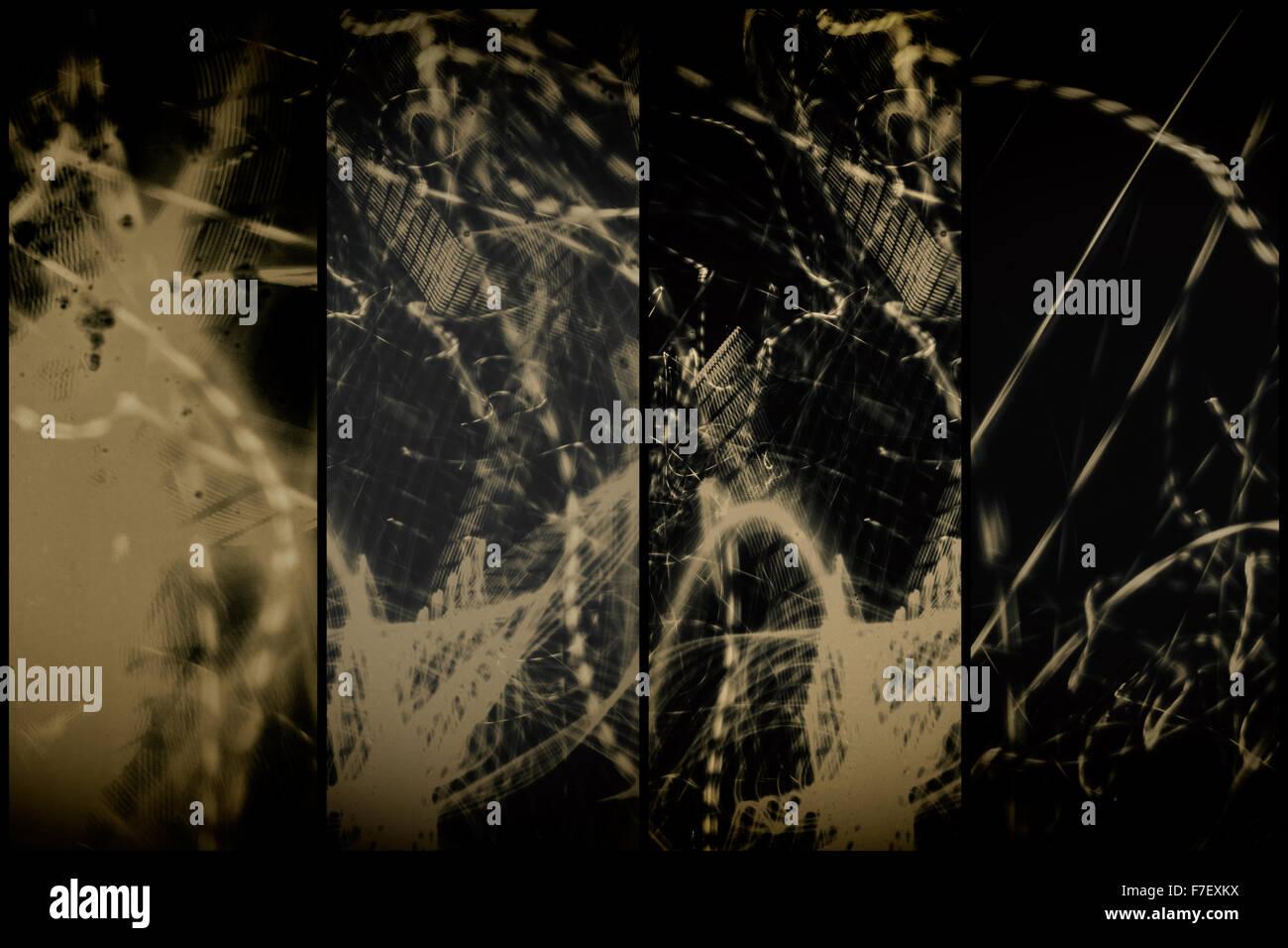 Il nero e il bianco con il nero di seppia tonificante rende questa parete Lightpainting distintiva arte da altri Immagini Stock